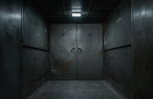Old, Empty, Grunge Industrial Elevator Interior With Copy Space