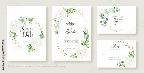 Fotografia, Obraz Wedding Invitation card, save the date, thank you, rsvp template