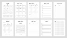 Planner Page Templates. Yearly, Monthly, Weekly And Daily Organizers And Calendar For Personal And Work Issues. Vector 10 ESP.