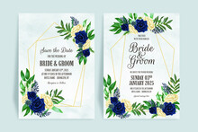 Floral Wedding Invitation Template Set With Dusty Watercolor Roses Leaves Decoration Card Design Concept