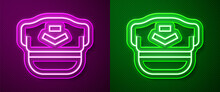 Glowing Neon Line Pilot Hat Icon Isolated On Purple And Green Background. Vector.