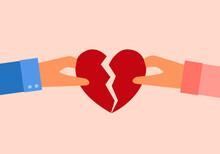 Man And Woman Hands Holding Broken Heart Pieces In Flat Design. Lovers Breakup. Love Hurts.