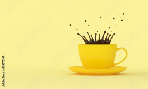 Yellow cup with splashes of coffee on a colored background. 3D render #408772107