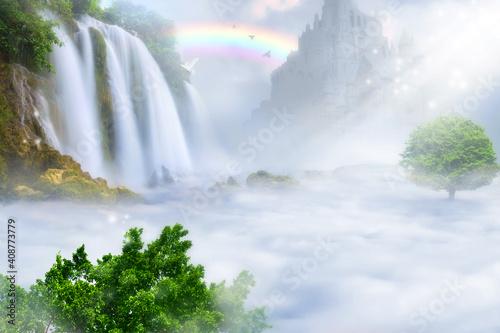 Foto Paradise kingdom above the clouds. Heaven concept.