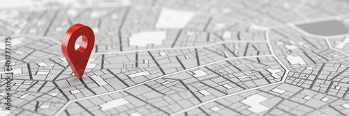 Fototapeta Rote GPS Standort Markierung auf Stadtplan obraz