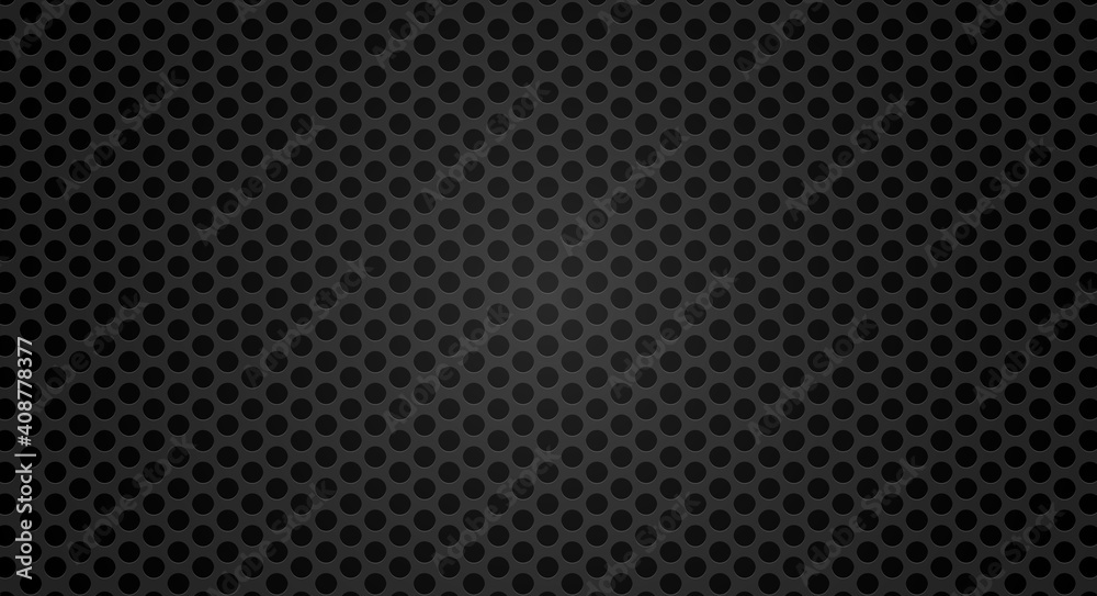 Fototapeta Black metal grill texture steel background. Perforated metal sheet. Black technical background. 3D realistic vector illustration.