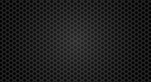 Black Metal Grill Texture Steel Background. Perforated Metal Sheet. Black Technical Background. 3D Realistic Vector Illustration.