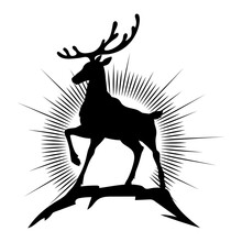 Silhouette Of A Deer Standing On A Mountain At Sunrise. Black Image Isolated On White Background.