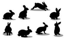 Silhouette Of A Black Rabbit With A White Background. Rabbit Set, Isolated On White Background
