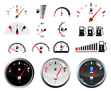 Set Of Fuel Gauge Scales Or Fuel Indicator Tank Or Electric Car Energy Indicator Concept. Eps 10 Vector, Easy To Modify