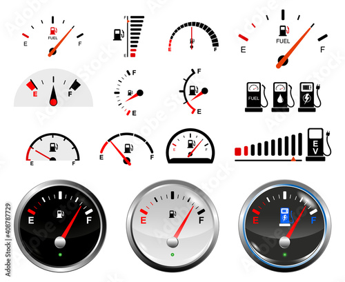 Fototapeta set of fuel gauge scales or fuel indicator tank or electric car energy indicator concept