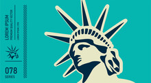 Head Of Statue Of Liberty. USA Symbol.