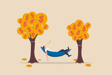 Passive Income, Earning With No Effort By Make Profit Or Dividend From Investment And Achieve Financial Freedom Concept, Happy Rich Businessman Sleeping In Hammock Tied On Money Tree With Dollar Coins
