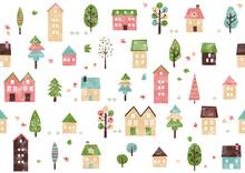 北欧風 手書き春の街と木のパターン
