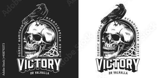 Vintage viking monochrome emblem © DGIM studio