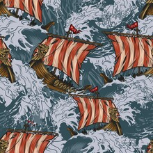 Viking Drakkar Ships Colorful Seamless Pattern
