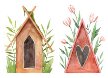 Watercolor Hand Painted Bird Houses With Florals