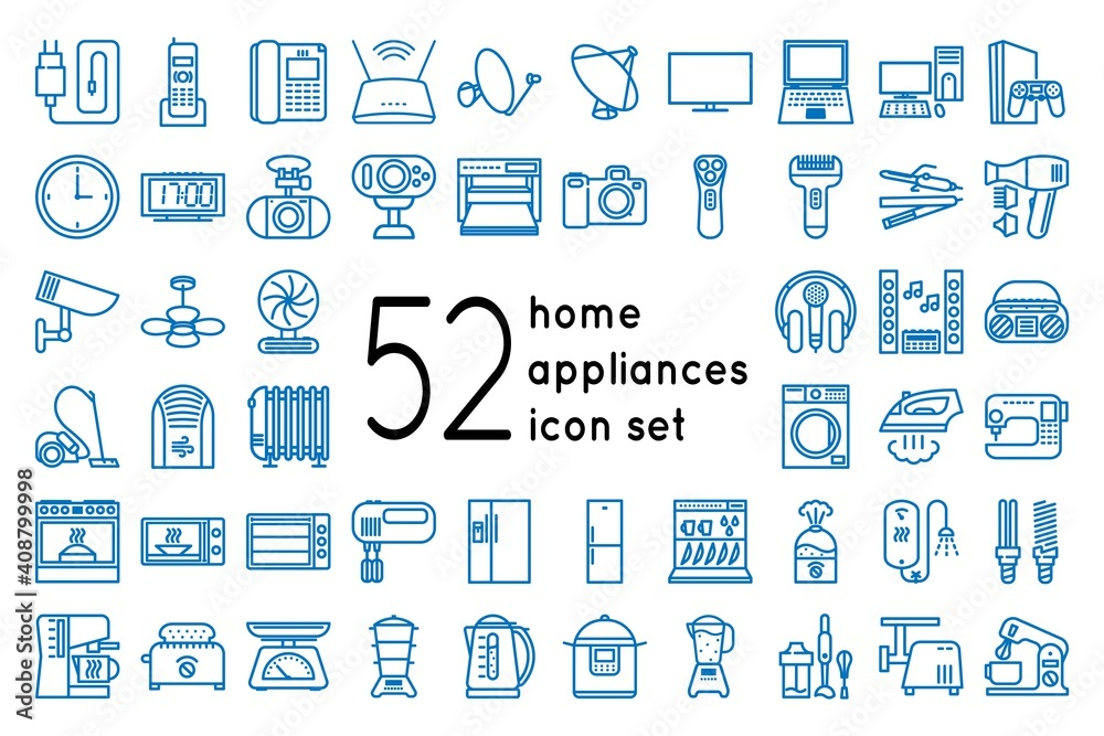 Fototapeta Home appliances and gadgets icons set isolated on white background. Icons for household appliance and electronics store website. Vector illustration isolated on whine background.