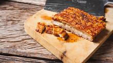 Roast Pork Belly On Wooden