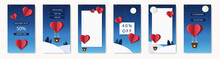 Social Media Templates With Love Theme For Mobile. Backgrounds For Your Stories. Sale On Valentine Day. Hot Air Balloons In Night Sky, Winter Forest, Moon And Stars. Origami Paper Cut Style.