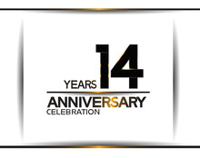 14 Years Anniversary Black Color Simple Design Isolated On White Background Can Be Use For Celebration, Party, Birthday And Special Moment