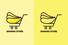 Set Logo Banana Store Color And Line Art
