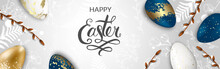 Happy Easter Background With Realistic Golden Shine Decorated Eggs, Willow. Vector Illustration Greeting Card, Ad, Promotion, Poster, Flyer, Web-banner.