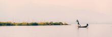 Panorama Of Inle Lake With An Intha Traditional Fisherman, Burma, Myanmar
