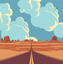 Vector Landscape With A Highway In The Desert And Mountains And With Clouds In Blue Sky. Summer Illustration Of An Endless Straight Road Running Through The Barren American Scenery
