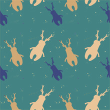 Christmas Moose Pattern. Brown Moose On A Green Background. Christmas Pattern For Gift Paper.