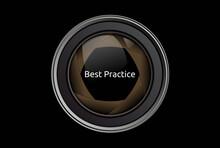 Best Practice. Text Im Fokus. Isoliert Freigestellt Vor Schwarzem Hintergrund.