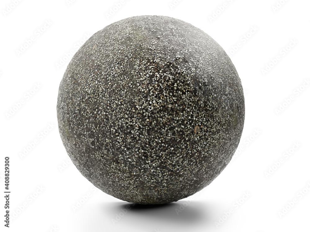 Fototapeta Fine-grainde gravel sphere on white background