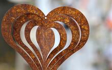 Closeup Of Rusty Metal Heart-shaped Decor