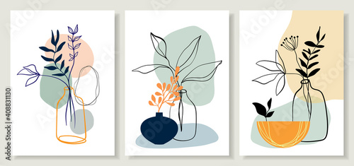 Fotografie, Obraz Abstract art line backgrounds, posters wall art set with flowers and plants in pots