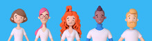 Collection Of 3D Avatars Of Young Men And Women In White T-shirts. Group Of Friendly Diverse People Standing Together. Trendy 3d Illustration