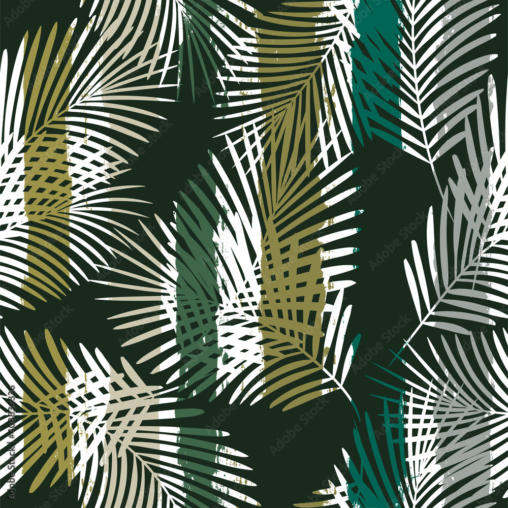 Fototapeta Tropical pattern, palm leaves seamless vector floral background. Leaves of palm tree on paint lines. Exotic plant on stripes. Summer nature jungle print. brush strokes print