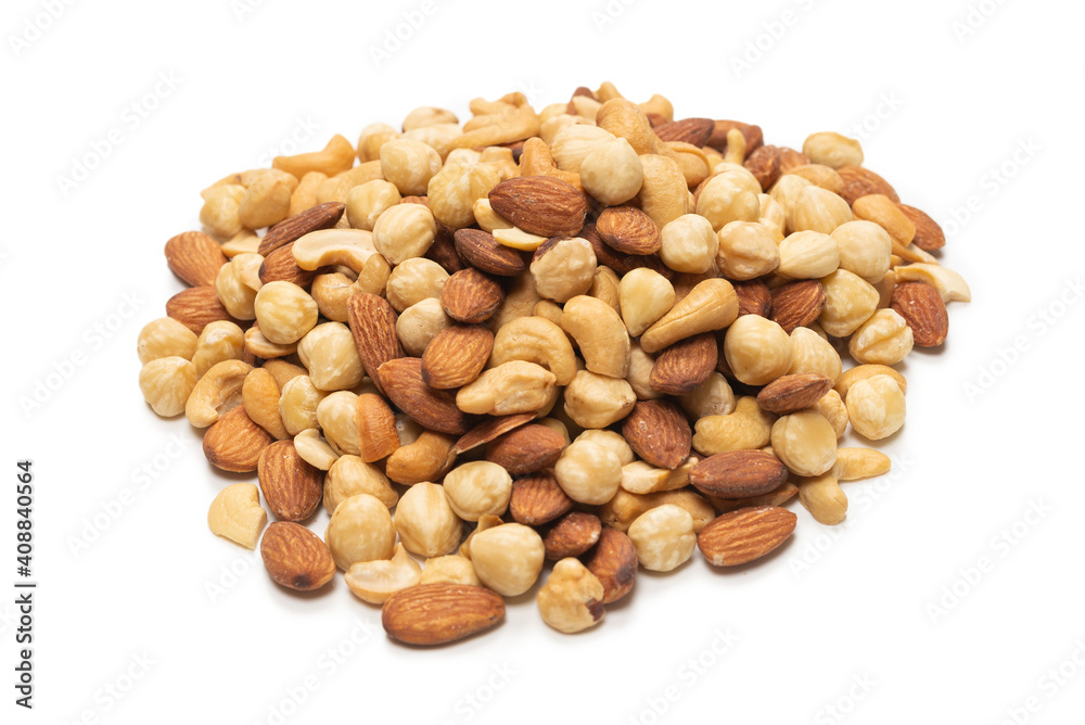 Fototapeta Mix of nuts isolated on white background. Top view.