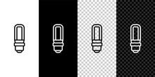Set Line LED Light Bulb Icon Isolated On Black And White,transparent Background. Economical LED Illuminated Lightbulb. Save Energy Lamp. Vector.
