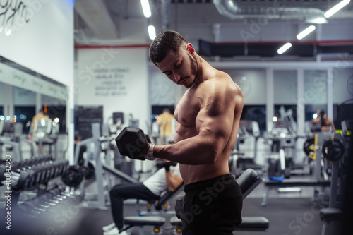 Fototapeta Young bodybuilder working out with dumbbells weights at the gym obraz