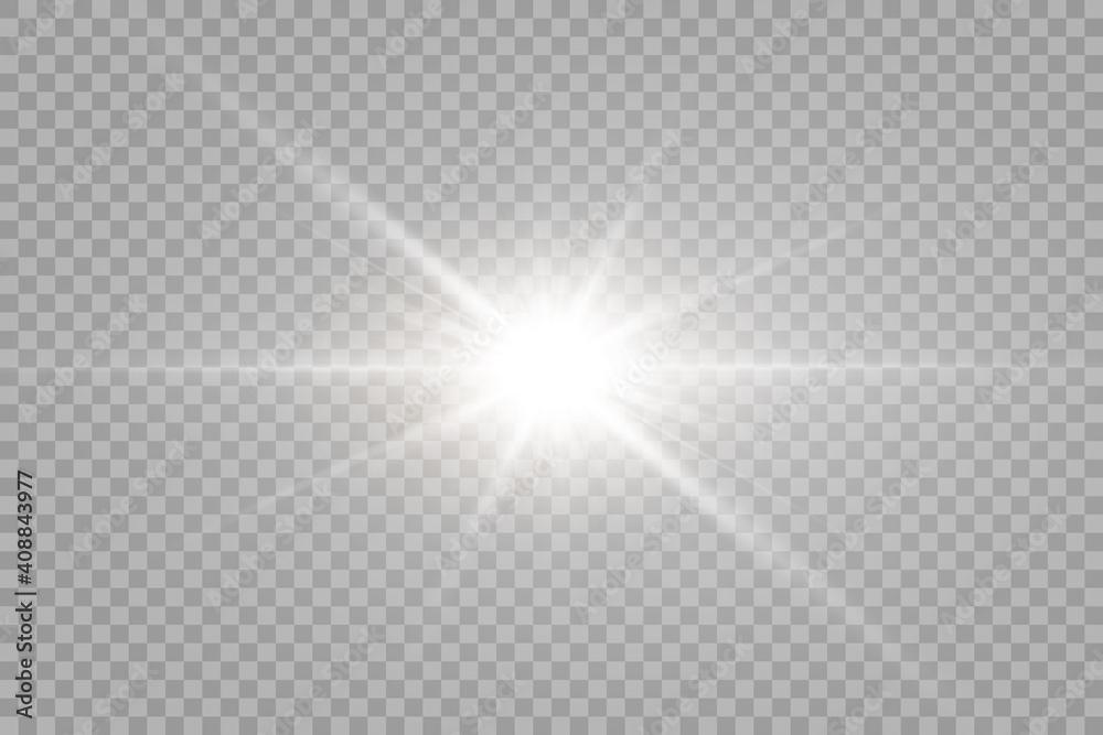 Fototapeta Vector transparent sunlight special lens flare light effect. PNG. Vector illustration