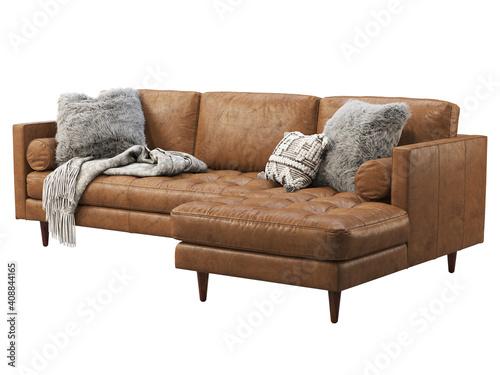 Slika na platnu Scandinavian corner brown leather upholstery sofa with chaise lounge