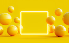 Abstract Summer Background With Light Mock Up Square In The Middle And Yellow Balls Flying Around 3D Rendering