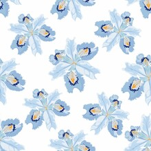 Seamless Floral Pattern. Arrangement Light Blue Iris Flowers By Delicately Leaves On A White Background. Hand-drawn Illustration. Square Repeating Pattern For Fabric