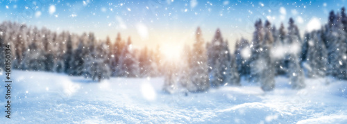 Winter landscape background and snow, frost wide panorama with free space for yo Fototapeta