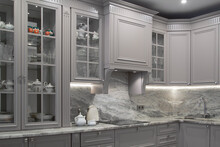 Modern Beige And Grey Colored Kitchen Interior Classic Style With Marble Countertop In Luxury Apartment