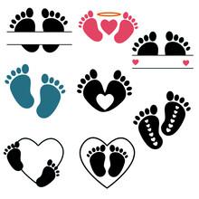 Baby Footprints  Vector Illustration Set . Baby Footprint Monogram, Baby Feet.