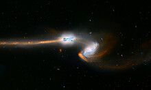 Colliding Galaxies, Supernova Core Pulsar Neutron Star.