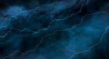 Dark Abstraction With Lightning And Lines. Marble Texture, Decorative Dark Stone. Blue Neon.