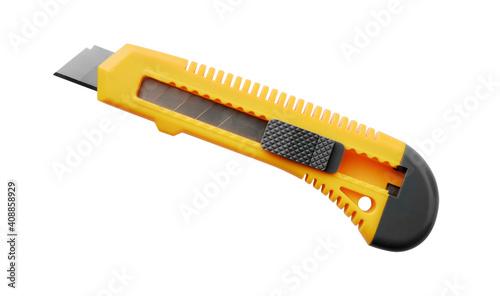 Obraz na plátně Side view of yellow utility knife
