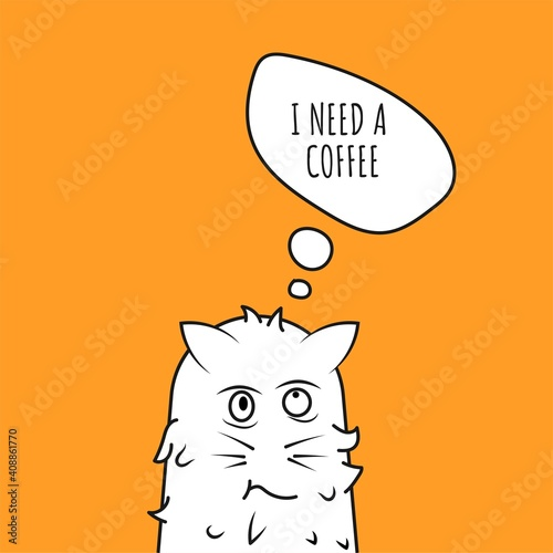 Tablou Canvas Doodle of cat saying I need coffee